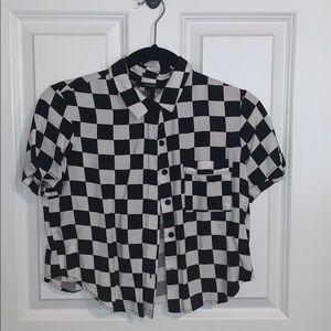 Checkered button up top